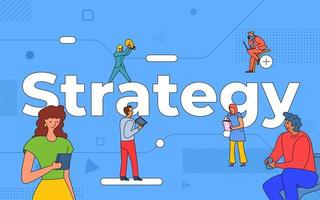 Colorful team of people working together on strategy vector
