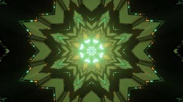 ilustração de 3 d de túnel abstrato com lâmpadas verdes