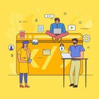 Flat design of teamwork on coding vector