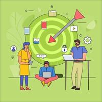 Flat design of teamwork on target audience vector