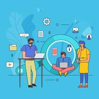 Flat design of teamwork on search engine vector
