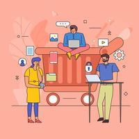 Flat design of teamwork on online shopping vector