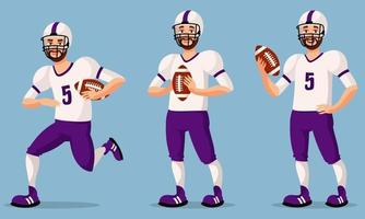 American football player in different poses. vector