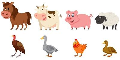 Set of female animals side view. vector