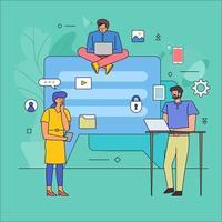 Flat design of teamwork on messaging vector