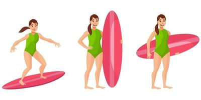 Surfer in different poses. vector