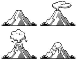 Set of volcanoes of varying degrees of eruption. Illustration in engraving style. vector