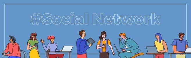 gente de redes sociales vector