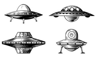 Set of various flying saucers. Hand drawn vector illustrations.
