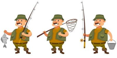 Fisherman in different poses. vector