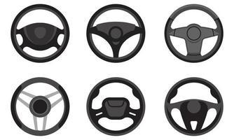 Set of different steering wheels. vector