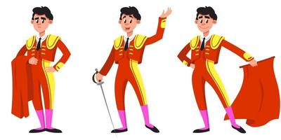 Bullfighter in different poses. vector