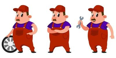 Auto mechanic in different poses. vector