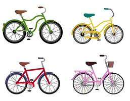Set of different bycicles. vector