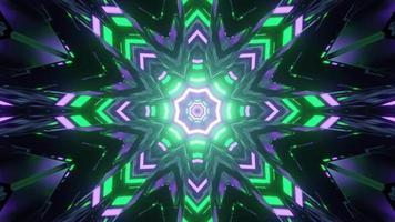 Octagon Shaped Neon Tunnel 3 D Illustration