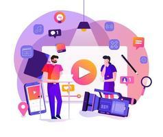 marketing de video vlog vector