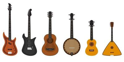 Set of different stringed instruments. vector