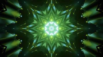 Bright Green Abstract Tunnel 3 D Illustration