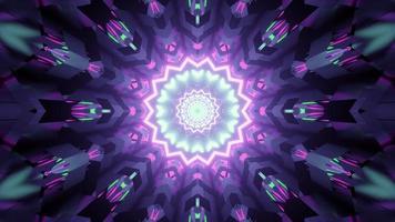 Iluminação brilhante de néon em movimento de forma de cristal ilustração 3D video