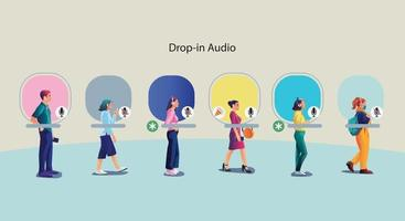 One man use headphones listens to a smartphone, screen show status of people using social networking applications vector