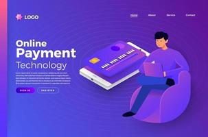Online payment technology vector