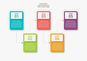 Square Shape Modern Business Infographic Template With 5 Options vector