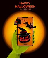 Halloween banner on mobile phone vector