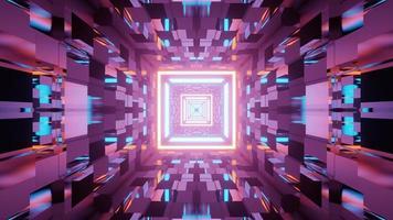 una ilustración en 3 d del túnel de vidrio cuadrado