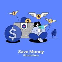 Person Saving Money vector