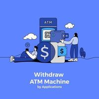 Withdrawing Money from ATM Machine vector