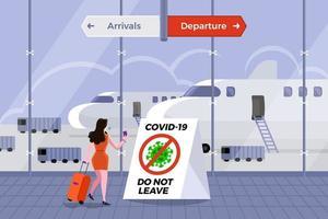 El aeropuerto prohíbe a los pasajeros en riesgo de covid-19 vector