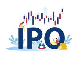 IPO, initial public offering. People Investing strategy Concept vector