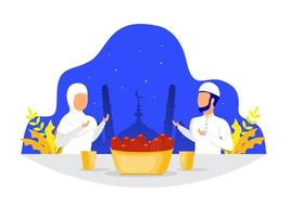 Muslim family dinner or Iftar Eating After Fasting feast party concept vector