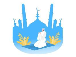 Religious Muslim prayer in traditional clothes on mosque background vector graphics