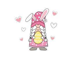 linda dama conejito de pascua y huevo de pascua. ilustración vectorial vector