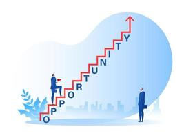 businessman walking on staircase with opportunity word, growth success to career concept vector illustrator