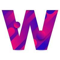 Letra del alfabeto con fondo degradado abstracto. letra W vector