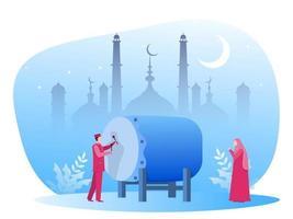 día de eid mubarak con musulmanes en ramadan kareem ilustración vector