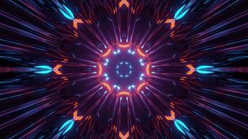 luz colorida brilhante no túnel dinâmico ilustração 3 d