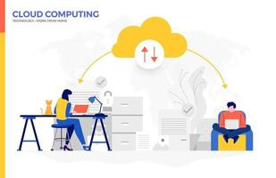 Cloud Computing Used For Working From Home vector