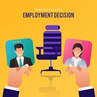 HR decision to hire one of two applicants vector