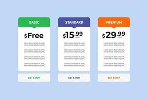 lista de precios de la interfaz de usuario de la interfaz de usuario vector