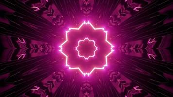 ilustração 3D de padrão geométrico de néon floral em movimento video