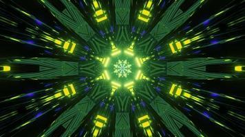 iluminação de néon geométrica brilhante com ilustração 3D de efeito de movimento