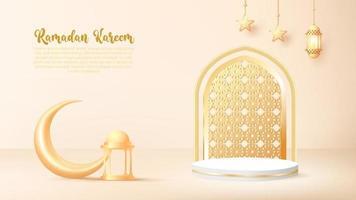 3d ramadan kareem background with golden lamp and podium. vector