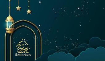 Ramadan kareem background with lantern. Ramadan greeting card or banner template design vector