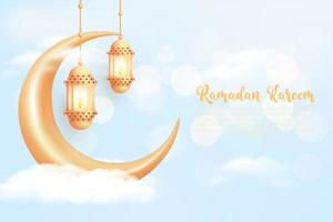 Ramadan kareem background with realistic golden lanterns and crescent moon vector