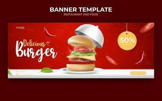 Plantilla de banner de anuncios de comida o culinaria. vector de ilustración con comida realista de hamburguesa, chile, plato y tapa.