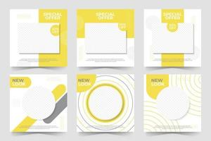 Set of Editable minimal square banner template. social media post and web internet ads vector