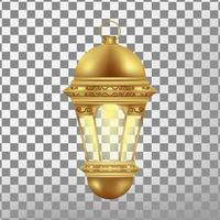 vintage gold lantern isolated. realistic vector illustration.